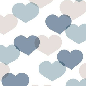 Sweet large valentine hearts in red and blue boys nursery