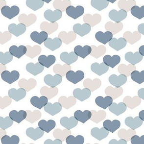 Sweet small valentine hearts in red and blue boys nursery