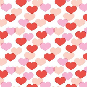 Sweet small valentine hearts in red and pink girls