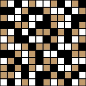 Large Mosaic Squares in Black, Camel Brown, and White