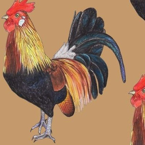 Rooster on Tan - large scale