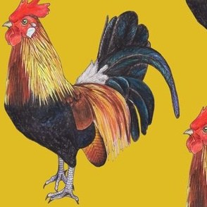 Rooster on Mustard Yellow - large scale