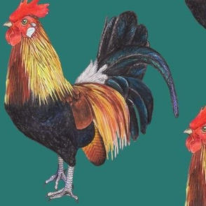 Rooster on Dark Teal - large scale
