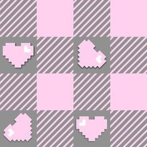Buffalo plaid pixel hearts