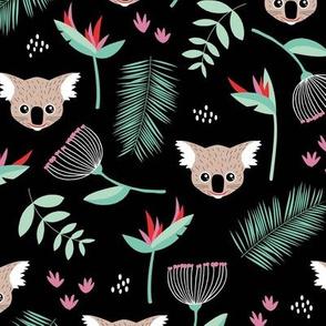 Lush Australian Koala bear garden palm leaves and flowers koalas pink red black girls