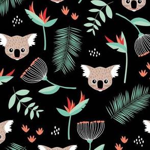 Lush Australian Koala bear garden palm leaves and flowers koalas red mint green gender neutral