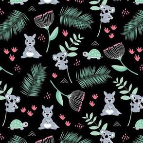 Australian animals kangaroos koalas and turtles palm leaves and flowers summer night garden pink girls