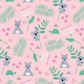Australian animals kangaroos koalas and turtles palm leaves and flowers summer garden pink girls