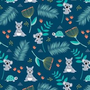 Australian animals kangaroos koalas and turtles palm leaves and flowers summer night garden navy blue orange gender neutral