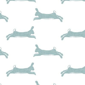 rabbit - leaping bunny - hare - dusty blue - LAD20