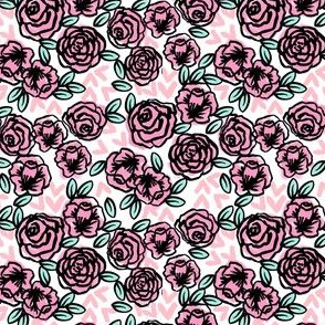 SMALL - roses // vintage rose floral fabric cute roses fabric pink rose fabric best vintage florals rose fabric