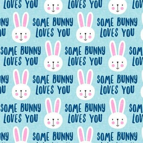 some bunny loves you - cute bunnies on light blue - LAD20