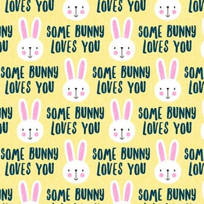 some bunny loves you - cute bunnies on yellow - LAD20