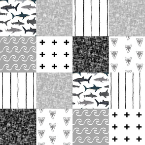 shark quilt  fabric - shark cheater quilt, shark baby, sharks, black and white, shark fabric, black and white shark