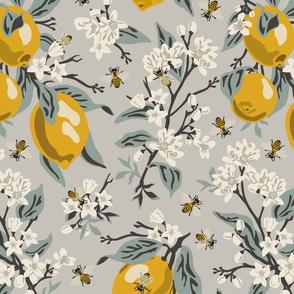 Bees & Lemons - Large - Grey (blue leaves)
