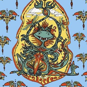 art nouveau dragon fantasy, large scale, blue purple yellow red orange brown green black white
