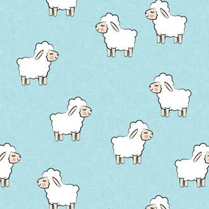 Lambs - cute lambs - sheep - pale blue - spring easter - C20BS