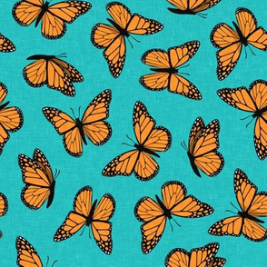 (small scale) Monarch butterflies - teal  - LAD20