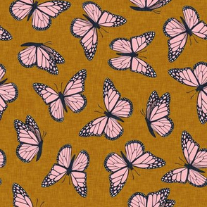 (small scale) Monarch butterflies - butterfly - pink on ginger - LAD20