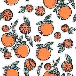 oranges  linocut fabric - oranges woodcut, orange, orange fabric, citrus, fruits fabric, citrus fruit fabric, orange fabric - white