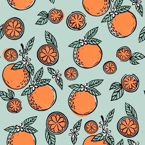 oranges  linocut fabric - oranges woodcut, orange, orange fabric, citrus, fruits fabric, citrus fruit fabric, orange fabric -mint