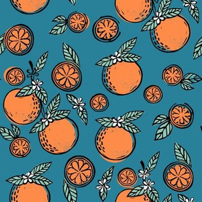 oranges linocut fabric - oranges woodcut, orange, orange fabric, citrus, fruits fabric, citrus fruit fabric, orange fabric - blue