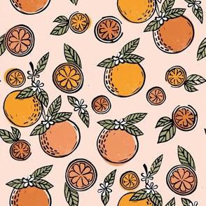 oranges  linocut fabric - oranges woodcut, orange, orange fabric, citrus, fruits fabric, citrus fruit fabric, orange fabric -peach