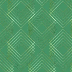 Art Nouveau Geo Green Gold