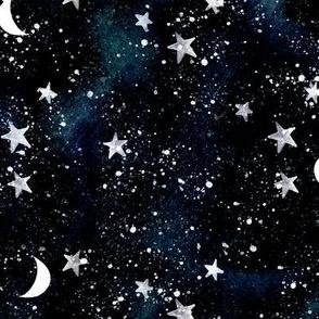stars and moons // indigo sky