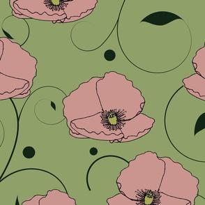 art nouveau poppy swatch