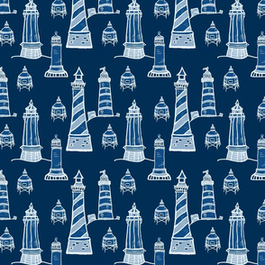 Classic Blue Lighthouse - a limited color palette
