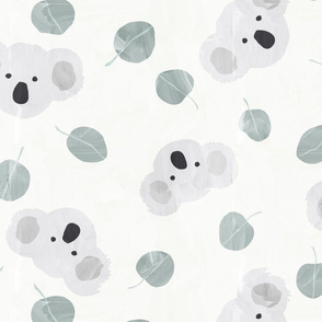 Australian koalas and silver dollar eucalyptus leaves TCX Pantone