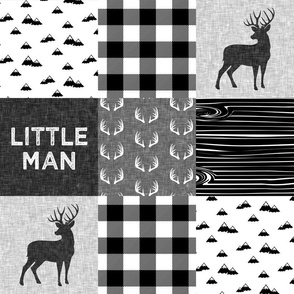little man - black and white (buck) quilt woodland w/mountains C20BS