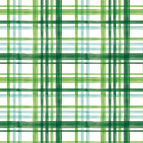 (small scale) Irish Plaid - Watercolor with mint - St Patricks Day C20BS