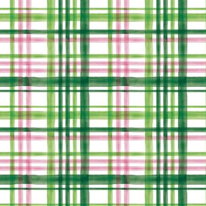 (small scale) Irish Plaid - Watercolor with pink - St Patricks Day C20BS