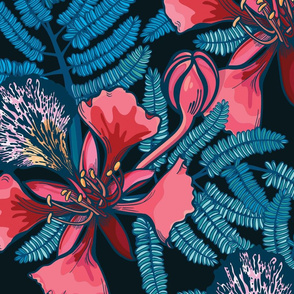 Poinciana Blue Floral Pattern