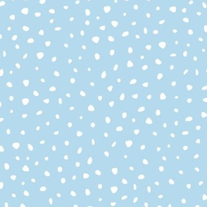 Snow flake dots and cheetah animal print spots baby blue white