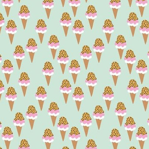 Leopard print spring ice cream cones kids summer candy pink mint and ochre yellow girls
