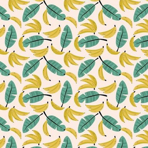 Tropical summer bananas and banana leaves jungle garden yellow sage green