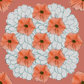 Peach and White Geometric Floral