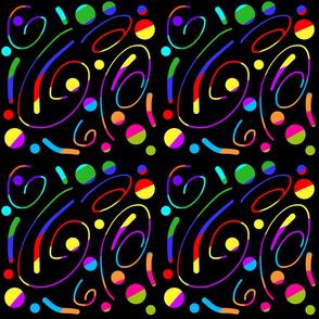 Disco Galaxy Swirls! #1 rainbow colours on black