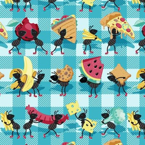 Small scale // Ants picnic frenzy // grey background multicoloured food apples, bananas, cookies, pizza, sausages, french fries, cheese, sandwiches and broccoli