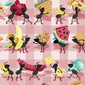 Normal scale // Ants picnic frenzy // grey background multicoloured food apples, bananas, cookies, pizza, sausages, french fries, cheese, sandwiches and broccoli