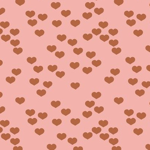 Little lovers small hearts basic minimal trend heart print pink rust copper