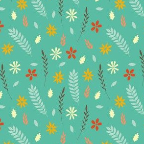 Green Falling Retro Leaves
