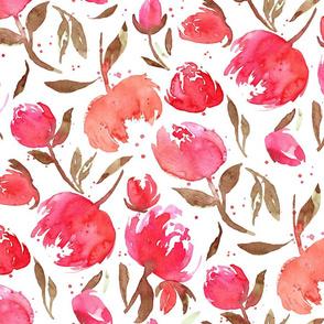 Bloom Bloom Pow Red |Large Pink Brown Flowers|Renee Davis