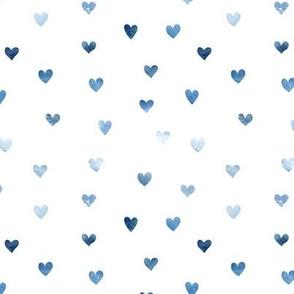 Watercolor hearts. Classic blue