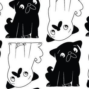 Pug Squared Black and White (LG)