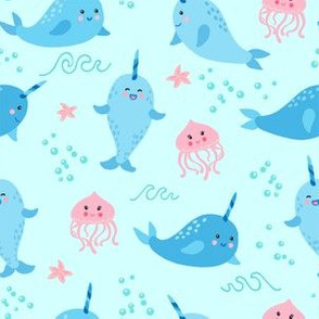 Happy Narwhals and Jellyfish