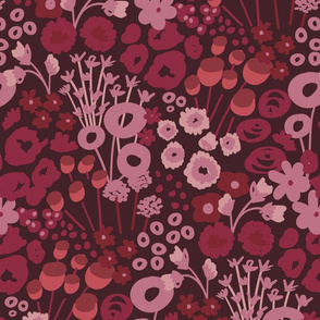 Modern Abstract Floral - Red